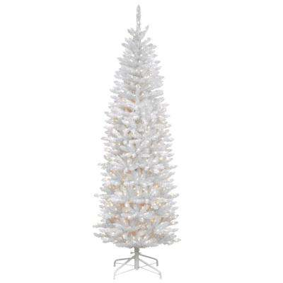 7 ft. Kingswood White Fir Hinged Pencil Artificial Christmas Tree with 300 Clear Lights