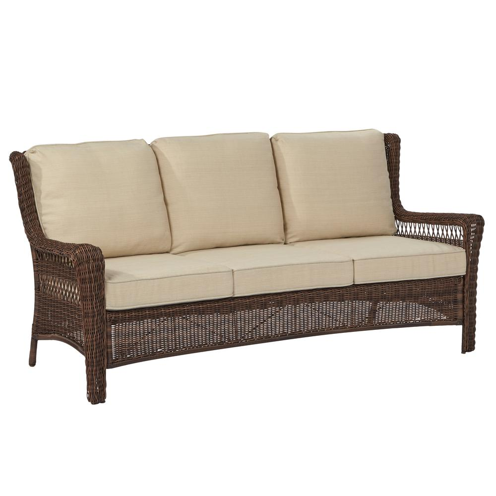 Hampton Bay Park Meadows Brown Wicker Outdoor Sofa With Beige Cushion