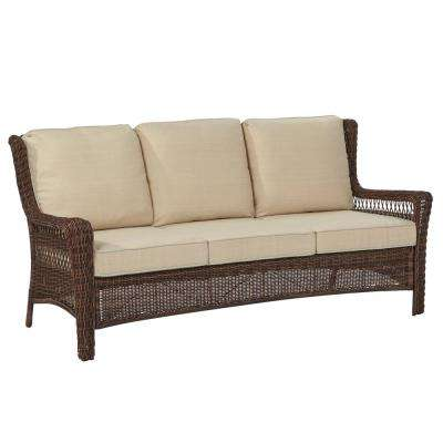 Park Meadows Brown Wicker Outdoor Sofa ... - Outdoor Sofas - Outdoor Lounge Furniture - The Home Depot