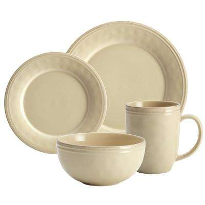 Cucina 16-Piece Casual Almond Cream Stoneware Dinnerware Set (Service for 4)