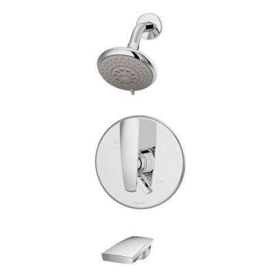Naru 1-Handle 3-Spray Tub and Shower Faucet in Chrome (Valve Included)