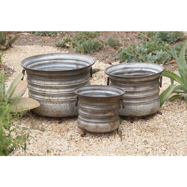 Litton Lane 15 in. x 20 in. Rustic Iron Drum-type Planters with Stand (Set of 3)