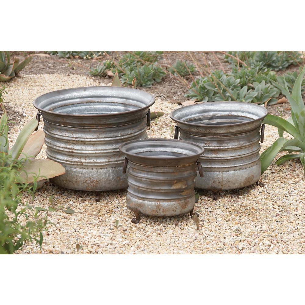 15 in. x 20 in. Rustic Iron Drum-type Planters with Stand