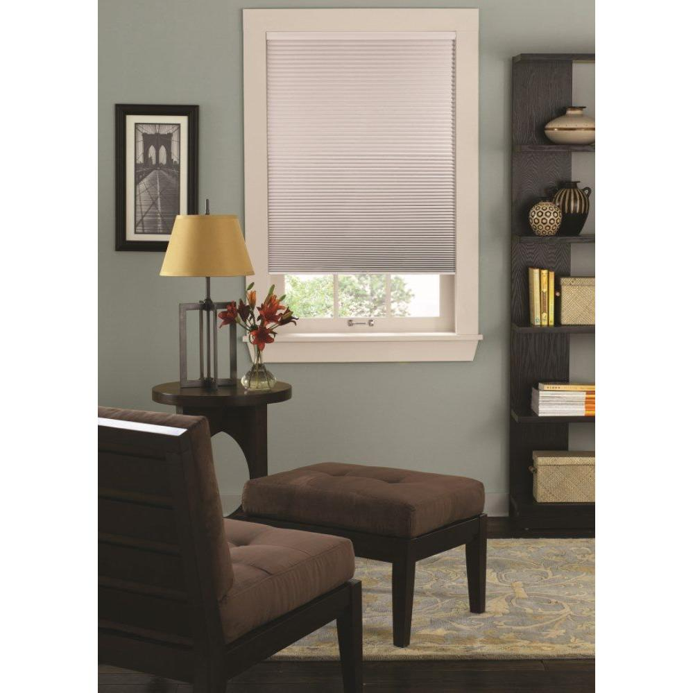 Redi Shade Easy Lift Trim At Home White 9 16 In Cordless Point Bond Fabric Blackout Cellular