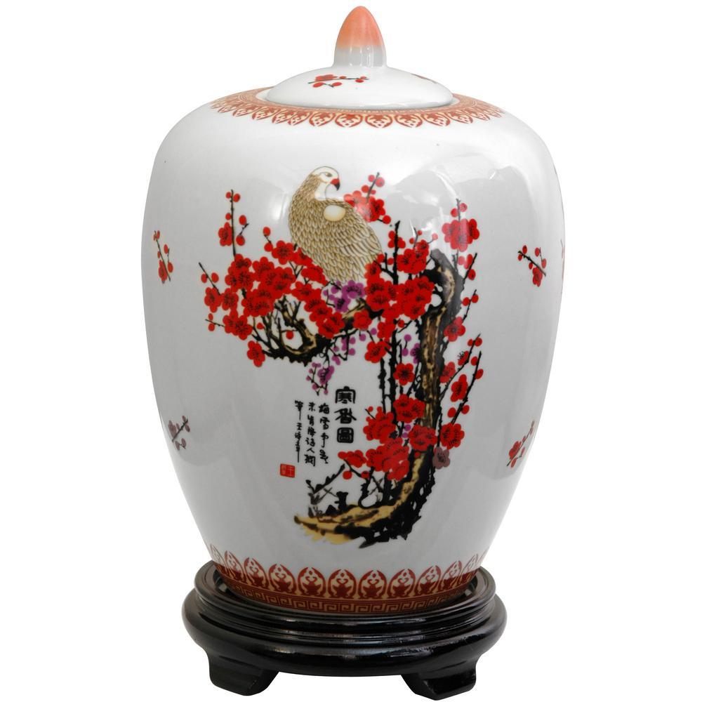 Oriental Furniture 11 In Porcelain Decorative Vase White