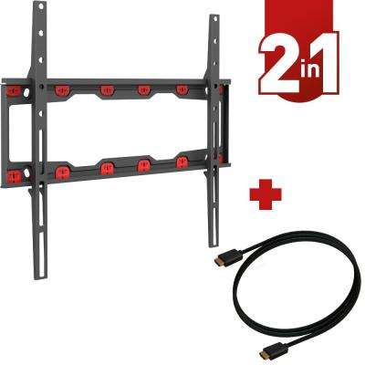Barkan 19 in. - 60 in. Fixed Drywall No-Drill No-Stud Curved/Flat TV Wall Mount up to 71 lbs. with 4K HDMI Cable