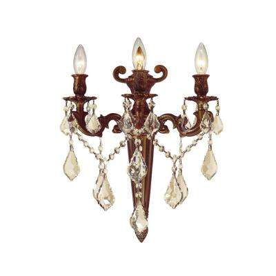 Versailles Collection 3-Light French Gold and Golden Teak Crystal Torch Wall Sconce