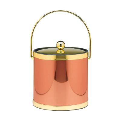 Mylar 3 Qt. Polished Copper and Brass Ice Bucket with Bale Handle and Metal Lid (Case of 6)