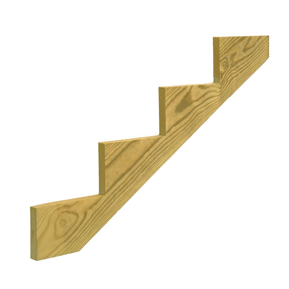 4-Step Pressure-Treated Pine Stair Stringer-106070 - The Home Depot