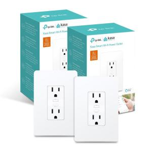 Kasa 2-Outlet Smart Wi-Fi Power Outlet, White-KP200 - The Home Depot