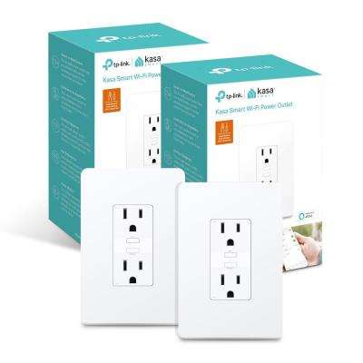 Kasa 2-Outlet Smart Wi-Fi Power Outlet, White (2-Pack)