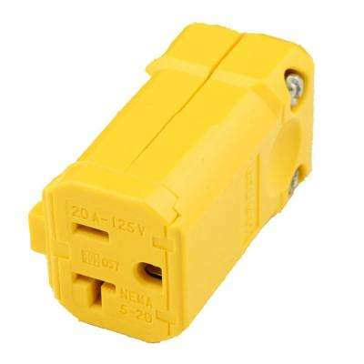 20 Amp 125-Volt Python Straight Blade Grounding Connector, Yellow