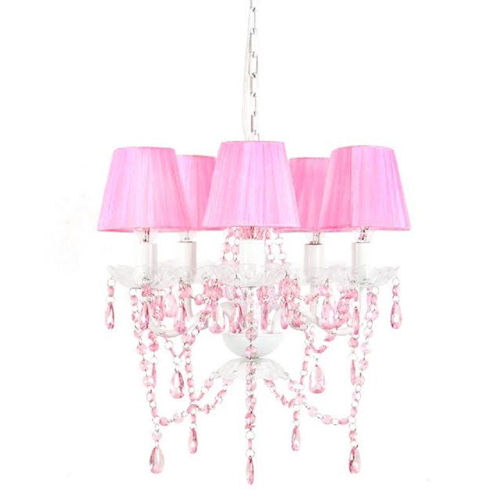 5-Light Pink Sapphire Chandelier Shade