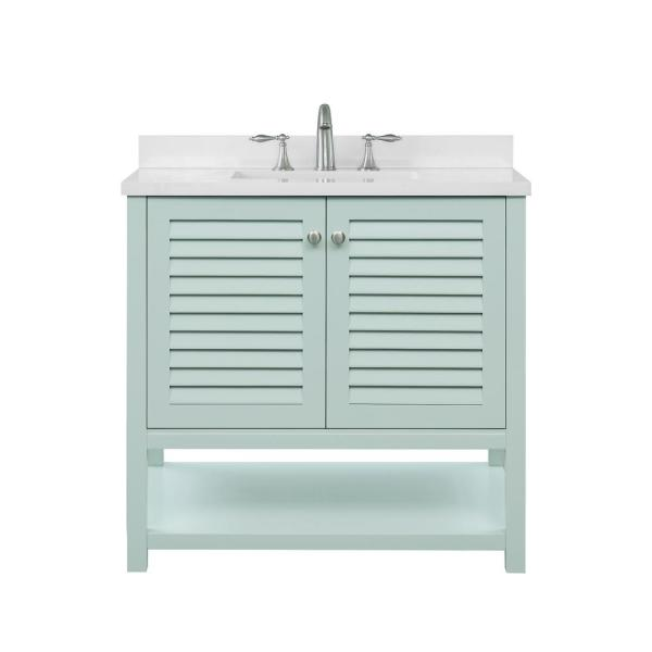 Grace 36 in. W x 22 in. D Bath Vanity in Minty Latte with Cultured Marble Vanity Top in White with White Basin