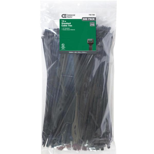 14 in. UV Cable Tie, Black (500-Pack)