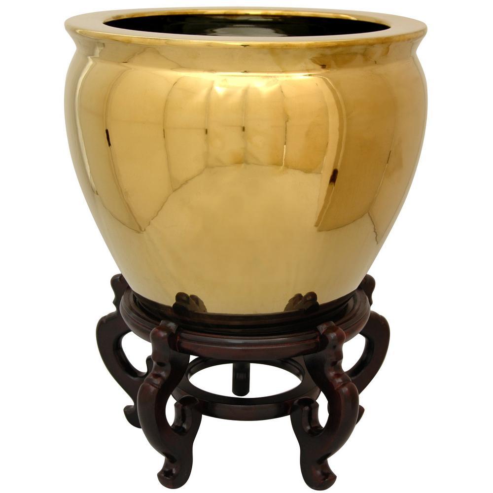 Oriental Furniture 14 in. Solid Gold Porcelain Fishbowl