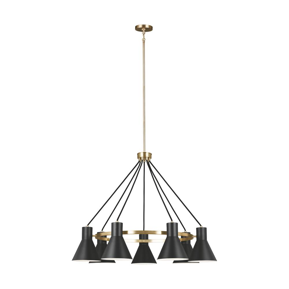 Sea Gull Lighting Towner 7-Light Black Shade with Satin Bronze Accents Chandelier