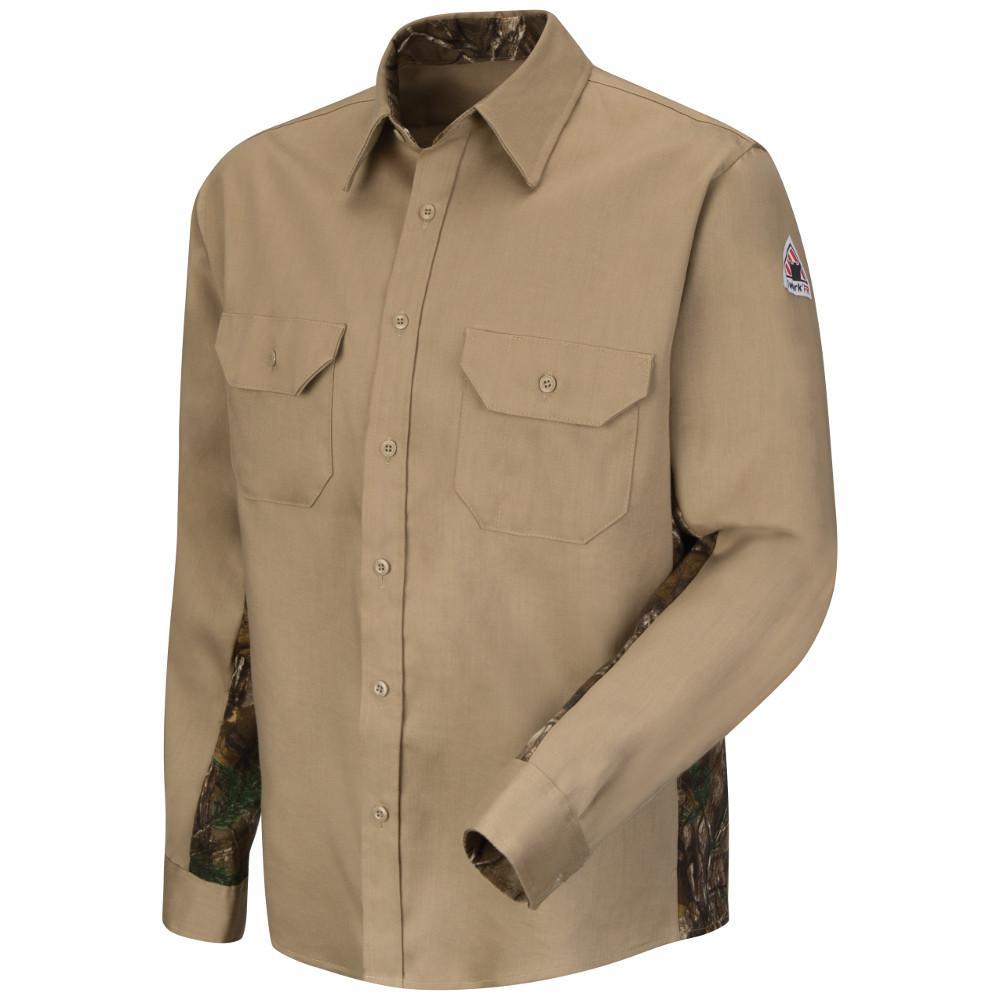 ddbe4b953ce Bulwark EXCEL FR Men s Large (Tall) Khaki Work Shirt-SEW2KH LN L ...