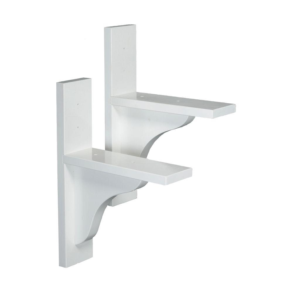 DMC White Wood Window Box Brackets (1-Pair)-70811 - The Home Depot