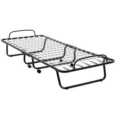 Classic Folding Guest Twin Size Metal Bed Frame with Memory Foam Mattress