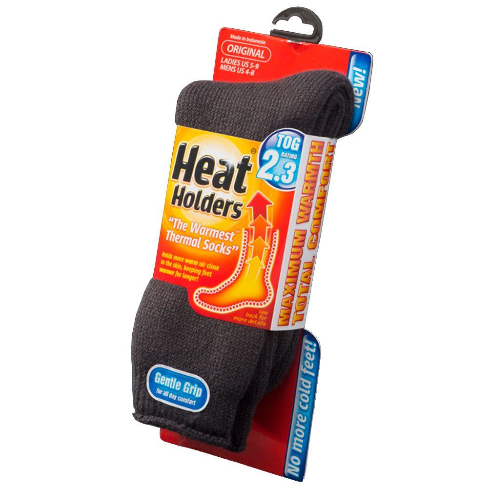 Heat Holders Ladies Heat Holder Socks in Charcoal (Grey) Keep feet warm on the coldest of days and pull on this pair of Heat Holders for men, the ultimate thermal sock. Available in several colors. An extremely high Thermal Overall Grade (TOG) of 2.34, this thermal sock is 7 times warmer than a basic cotton sock. Heat Holders are made from a specially developed heavy bulk yarn which has extreme thermal qualities. With long pile cushioning, these thermal socks will help keep feet fully comfortable and supported. The inside of each sock has been intensively brushed that not only feels sensationally soft but also traps warm air close to the skin keeping your feet warmer for longer. Size: One Size. Color: Charcoal. Gender: Female. Age Group: Adult.