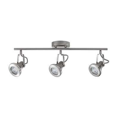 Theodore Collection Led 3 Light Brushed Steel Track With Chrome Accents