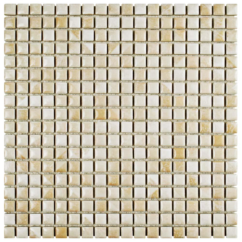 Rustica Mini Perla Bone 12 in. x 12 in. x 8 mm Porcelain Mosaic Tile