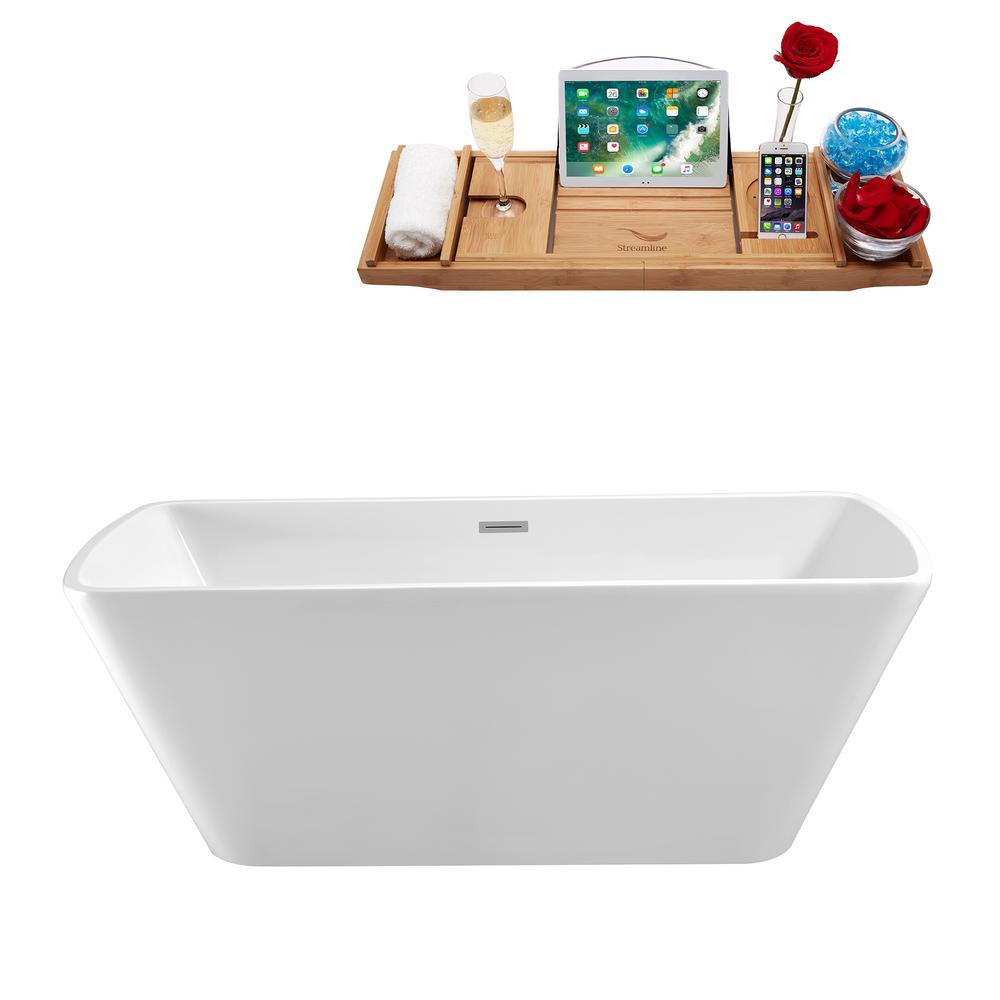 59.1 in. Acrylic Flatbottom Non-Whirlpool Bathtub in Glossy White