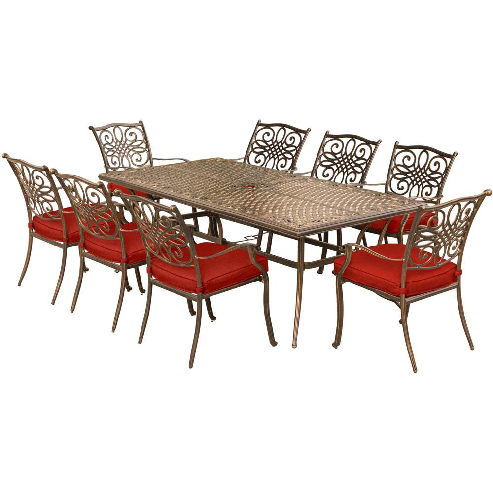 Hanover Traditions 9-Piece Aluminum Outdoor Dining Set with Red Cushions