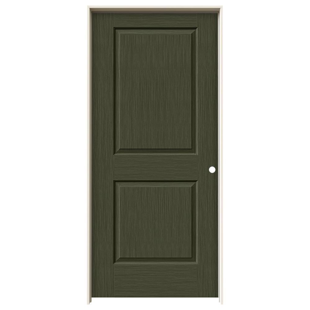 36 in. x 80 in. Cambridge Juniper Stain Left-Hand Solid Core Molded Composite MDF Single Prehung Interior Door