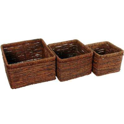 Oriental Furniture 11 in. x 7 in. Hand Woven Set of Three High Basket Trays