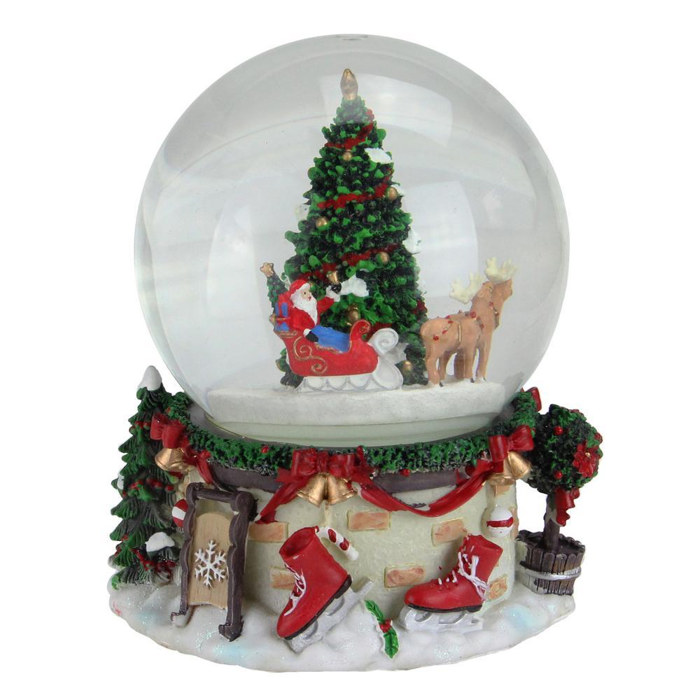 christmas musical and animated santa on sleigh rotating water globe