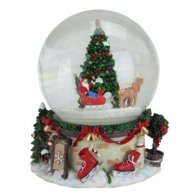 6.75 in. Christmas Musical and Animated Santa on Sleigh Rotating Water Globe