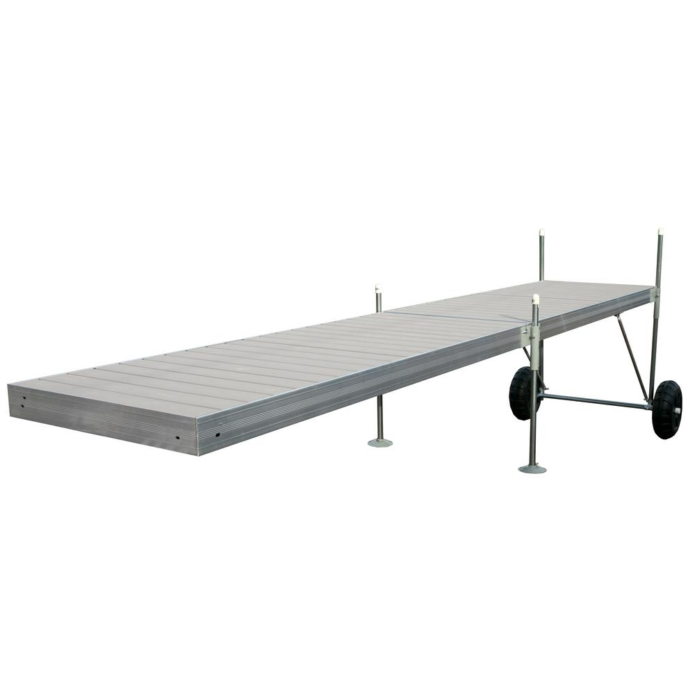 Tommy Docks 20 ft. Roll-In-Dock Straight Aluminum Frame with Removable Decking Complete Dock Package