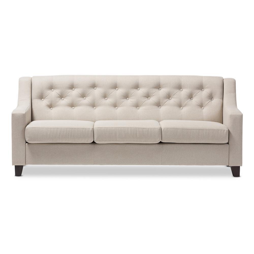 BaxtonStudio Baxton Studio Arcadia Contemporary Light Beige Fabric Upholstered Sofa