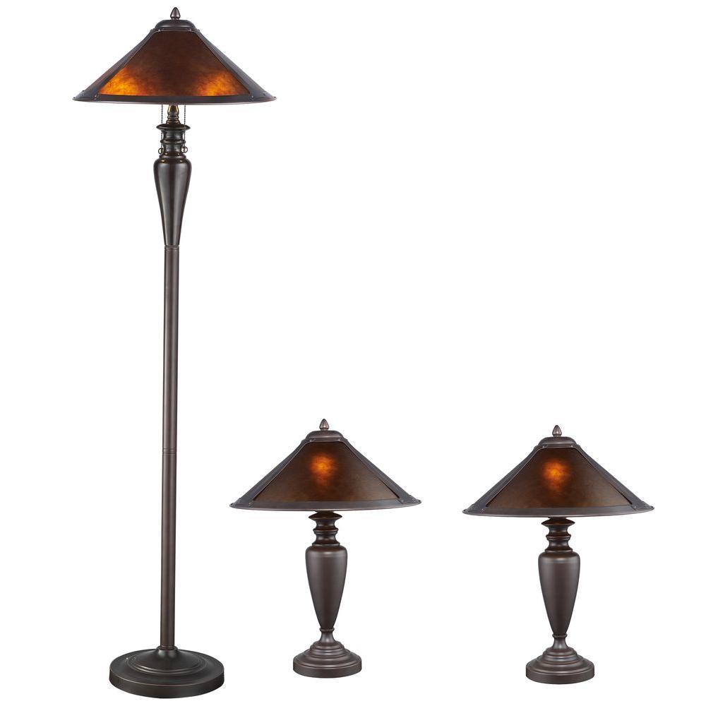 Serena D'italia Americana Mica 58/23 in. 3-Pieces Bronze Floor and Table Lamp