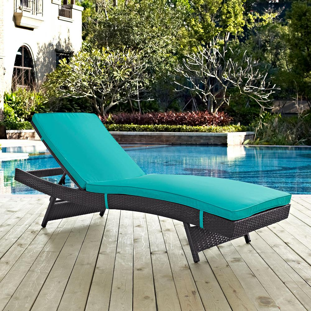 Convene Wicker Outdoor Patio Chaise Lounge In Espresso With Turquoise  Cushions