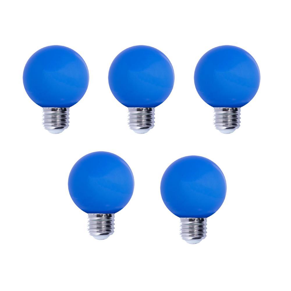 Bulbrite 15-Watt Equivalent G14 Non-Dimmable LED Medium Screw Light Bulb, Blue Light (5-Pack)