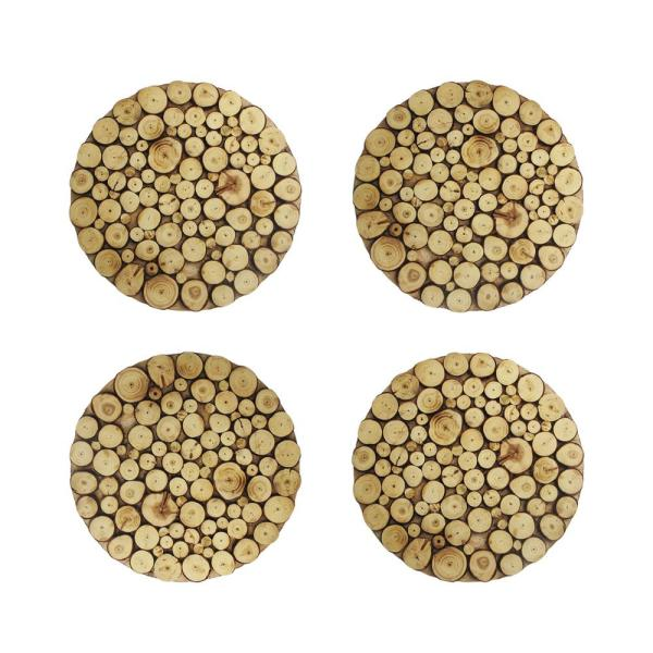 American Atelier 14 In D Wooden Discs Natural Round Chargers 4 Set