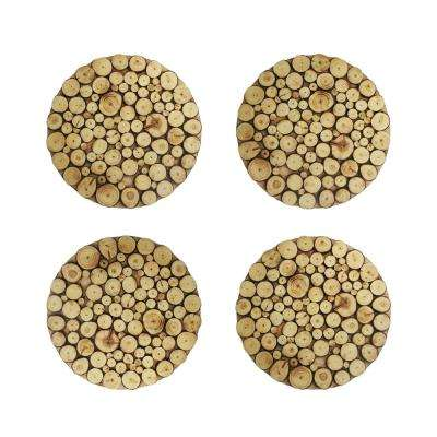 14 in. D Wooden Discs Natural Round Chargers (4-Set)