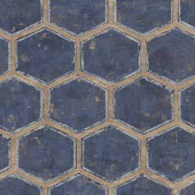 Wright Metallic Silver, Gold and Midnight Blue Hexagonal Wallpaper