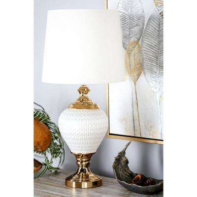31 in. White Urn-Shaped Table Lamp with Gold Accents