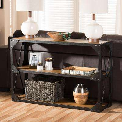 Hudson Vintage Industrial Medium Brown Wood Console Table