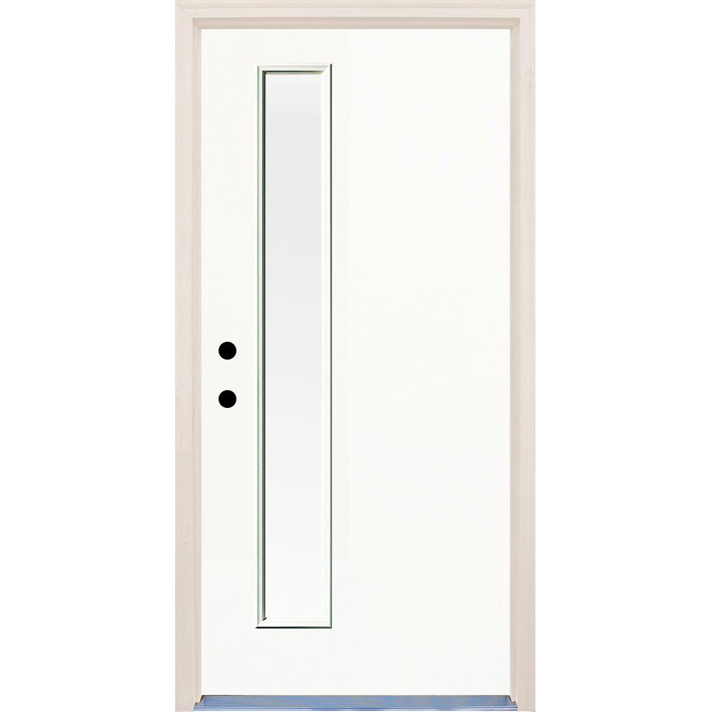 Builders Choice 36 in. x 80 in. Right-Hand Classic 1 Lite Clear Glass Painted Fiberglass Prehung Front Door with Brickmould