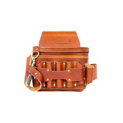 12 in. 5-Pocket Leather Electrician's Pouch, Brown