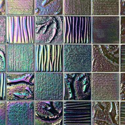 Marina Iridescent Midnight Squares 12 in. x 12 in. 8 mm Polished Glass Wall Tile (1  sq. ft.)