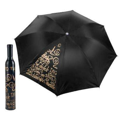 Black and Gold Wine Bottle Umbrella