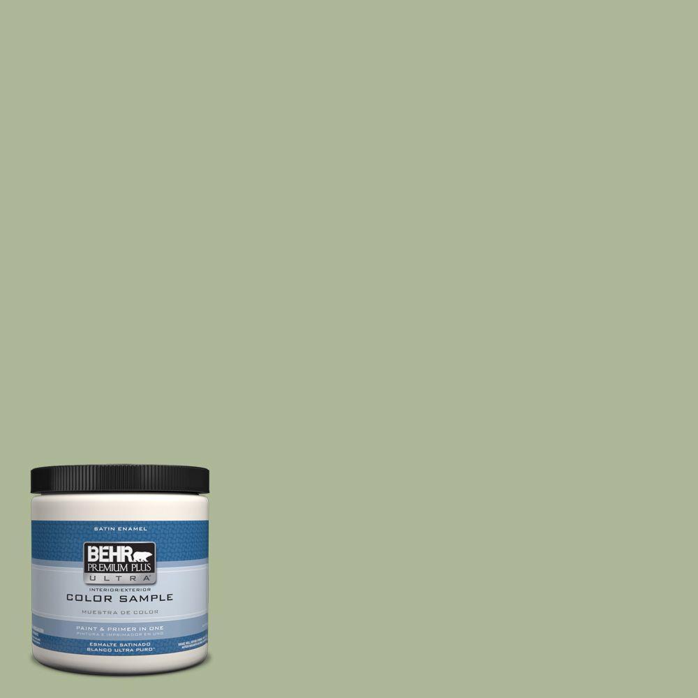 Behr Premium Plus Ultra 8 Oz Ppu11 8 Moss Print Interior Exterior Satin Enamel Paint Sample