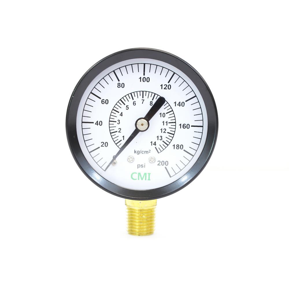0 - 200 psi 2.5 in. Dial 1/4 in. Brass NPT Pressure Gauge (2-Pack)