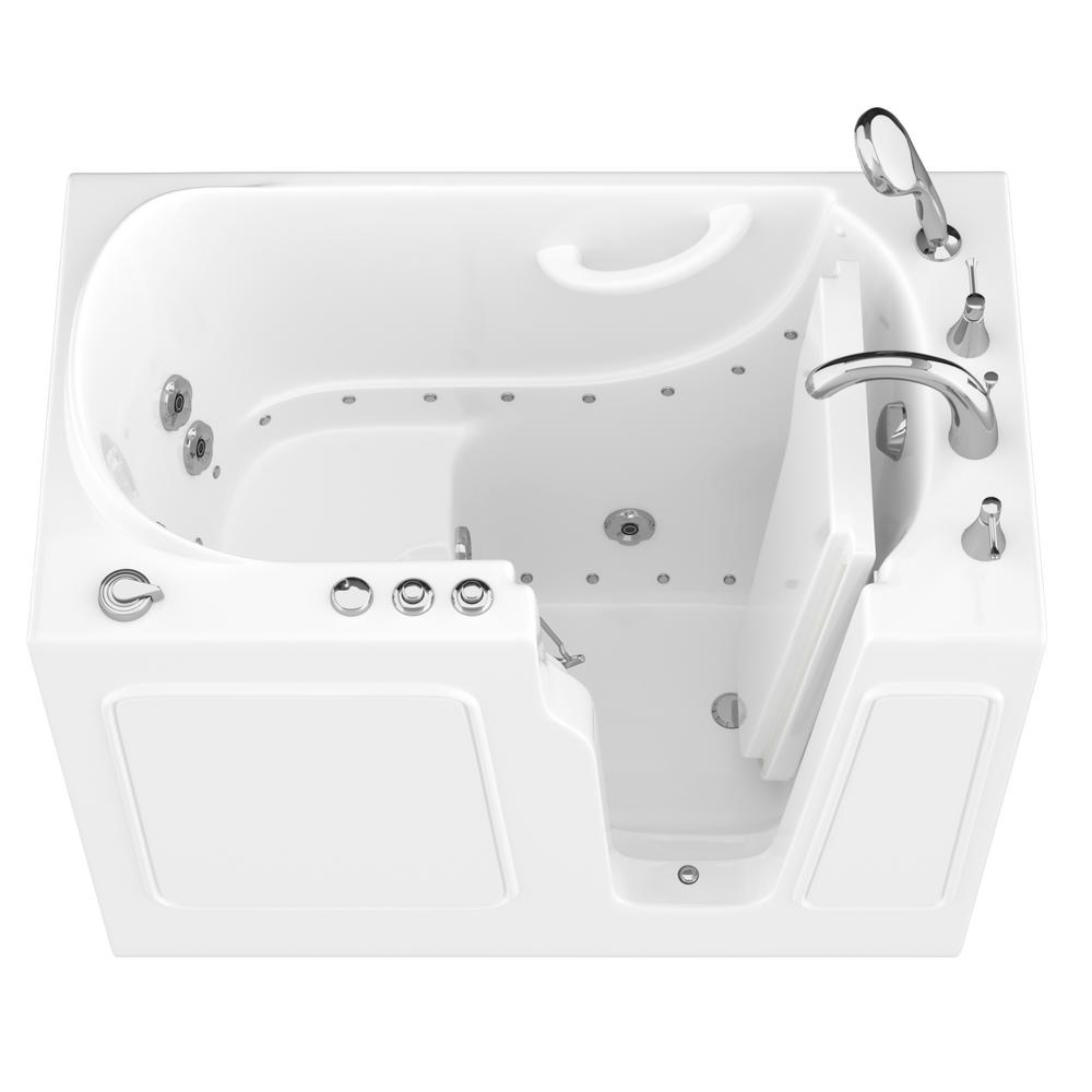 Universal Tubs HD Series 46 in. Right Drain Quick Fill Walk-In Whirlpool and Air Bath Tub with Powered Fast Drain in White
